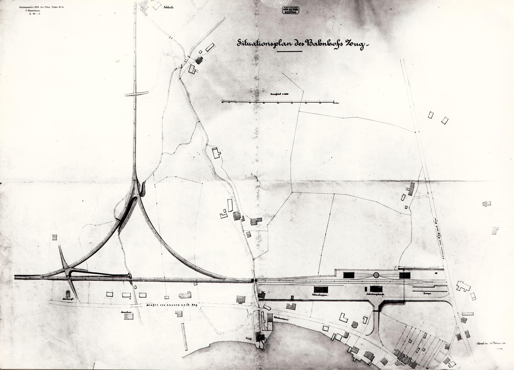 Bahnhof Zug Situationsplan 1863
