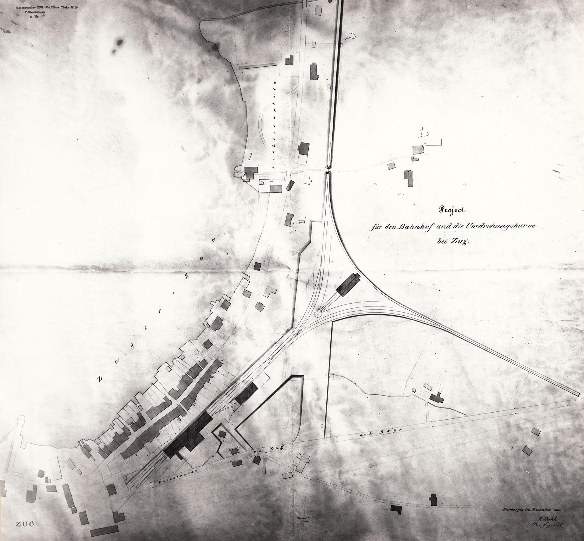 Bahnhof Zug Plan 1861