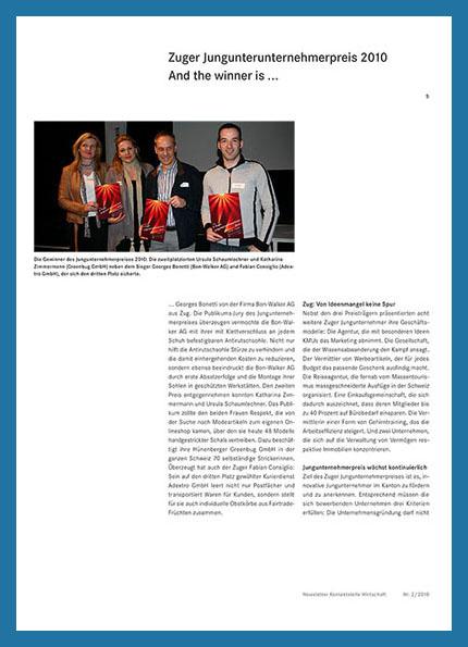 Newsletter 2/10 Zuger JungUnternehmerpreis
